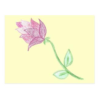 Adorno rosado de la flor del cardo postal