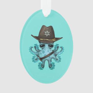 Adorno Sheriff lindo del pulpo del bebé azul