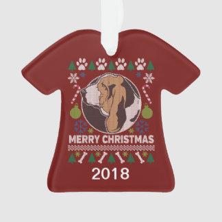 Adorno Suéter feo del navidad de Basset Hound