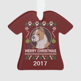 Adorno Suéter feo del navidad del pitbull de AmStaff