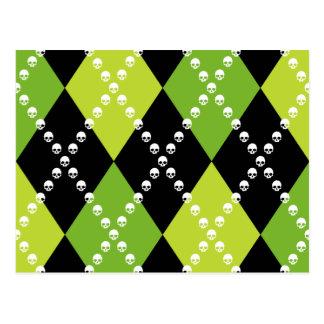 Adorno verde de Argyle del cráneo Postal