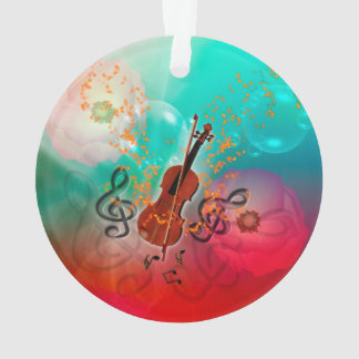 Adorno Violín con el arco de violín con el clef y las
