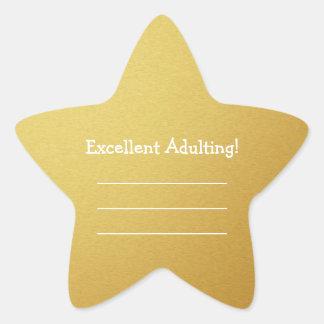 Adulting excelente escribe sus propias estrellas pegatina en forma de estrella