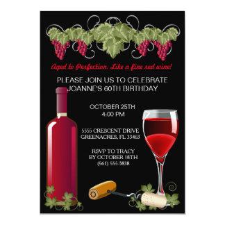 Adulto de la fiesta de cumpleaños del vino invitación 12,7 x 17,8 cm