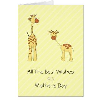 Adulto y jirafa del bebé. Dibujo animado Tarjeta De Felicitación