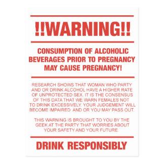 Advertencia divertida del alcohol y del embarazo postal