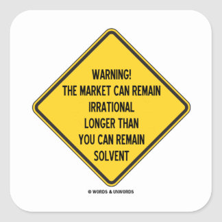 ¡Advertencia! El mercado puede seguir siendo más l Calcomanía Cuadradas Personalizada