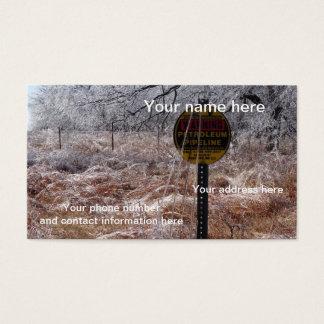 Advertencia helada de la tubería del petróleo tarjeta de negocios