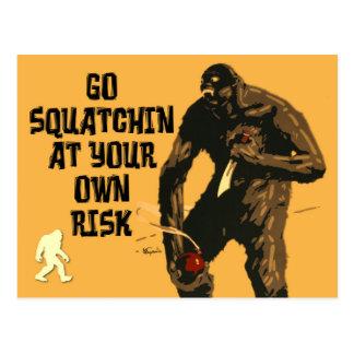 Advertencia: ¡Va Squatchin en su propio riesgo! Postal