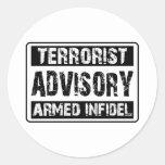 Advisory del terrorista etiquetas redondas