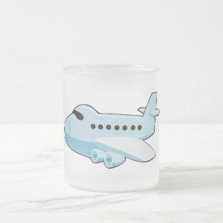 aeroplano AZUL del dibujo animado gif_airplane_002 Taza De Cristal