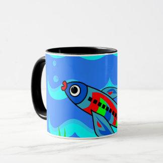 Aeroplano colorido caprichoso de los pescados taza
