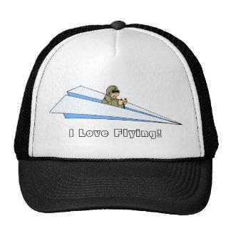 Aeroplano de papel que vuela del hombre adaptable gorro de camionero