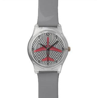 Aeroplano del art déco, naranja coralino y gris reloj de pulsera