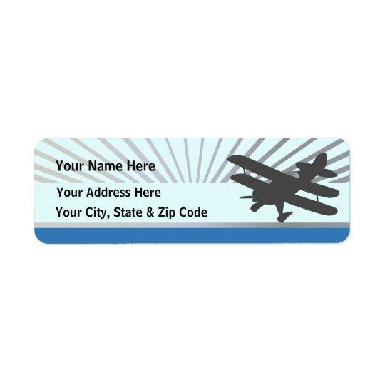 Aeroplano del biplano etiqueta de remitente