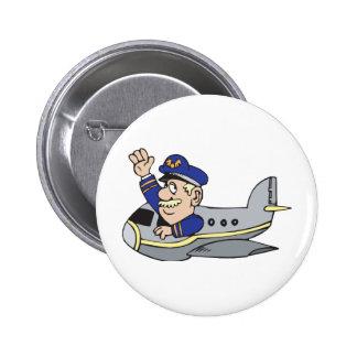 Aeroplano del dibujo animado chapa redonda de 5 cm