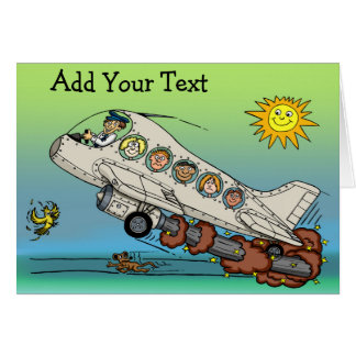 Aeroplano del dibujo animado tarjeta de felicitación