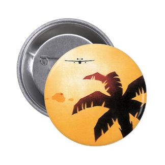 Aeroplano del vintage que vuela sobre Hawaii y la Chapa Redonda 5 Cm