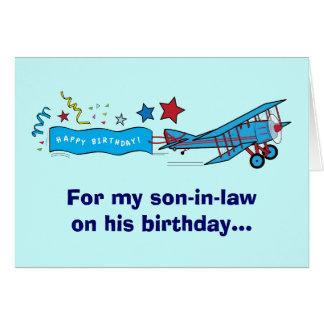 Aeroplano del yerno del feliz cumpleaños tarjeta