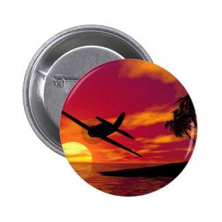 Aeroplano en una puesta del sol tropical