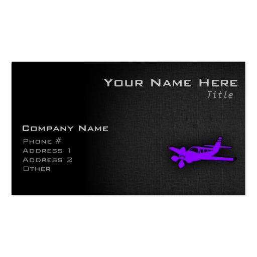 Aeroplano púrpura violeta plantilla de tarjeta de visita