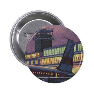 Aeropuerto del vintage, pasajeros que suben a un chapa redonda 5 cm
