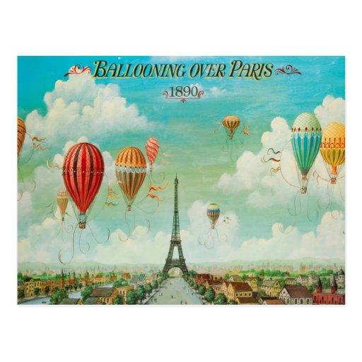 Aerostación sobre la postal del viaje del vintage