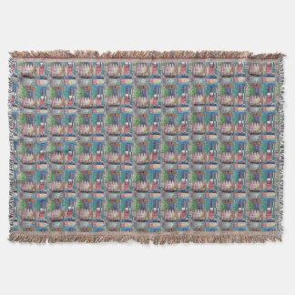 Afgano multicolor azulverde del remiendo del manta