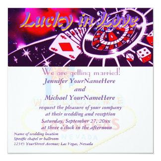 Afortunado en el amor Las Vegas Nevada Invitación 13,3 Cm X 13,3cm