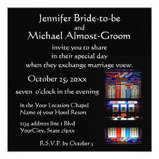 Afortunado en el boda del tema del casino del amor invitaciones personales