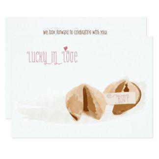 Afortunado en las galletas de la suerte del amor invitación 8,9 x 12,7 cm