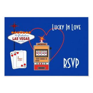 Afortunado en las tarjetas azules de RSVP del amor Invitación 8,9 X 12,7 Cm