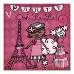 Africano Amer. El cumpleaños de París del La del Invitación Personalizada