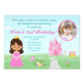 Afroamericano de princesa Birthday Invitation 5x7 Invitación 12,7 X 17,8 Cm