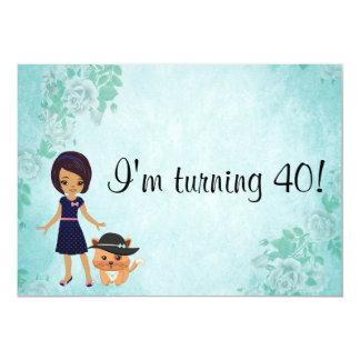 Afroamericano estoy dando vuelta al cumpleaños 40 invitación 12,7 x 17,8 cm