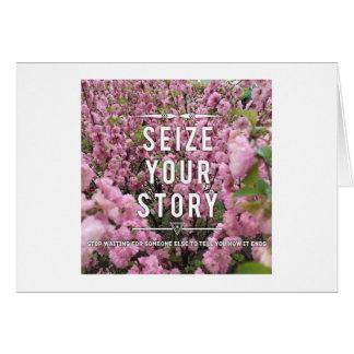 Agarre su tarjeta de nota de la historia - esconda