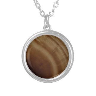 Ágata congregada, Brown, piedra fresca de la Collar Plateado