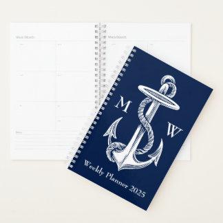 Agenda Monograma blanco de los azules marinos de la