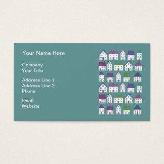 Agente inmobiliario bonito de los iconos de la tarjeta de negocios