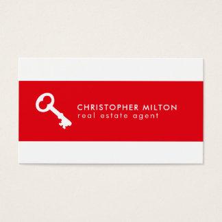 Agente inmobiliario dominante blanco rojo simple tarjeta de visita