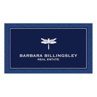 Agente inmobiliario elegante, azul de la libélula tarjetas de visita