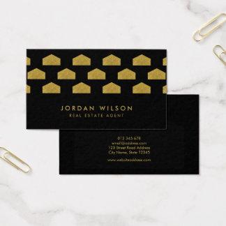 Agente inmobiliario elegante negro del modelo de tarjeta de negocios