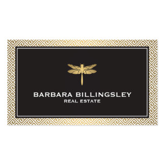 Agente inmobiliario elegante, oro de la libélula tarjetas de visita