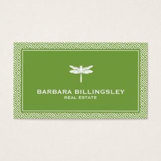 Agente inmobiliario elegante, verde de la libélula tarjeta de visita