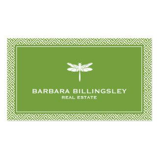 Agente inmobiliario elegante, verde de la libélula tarjetas de visita