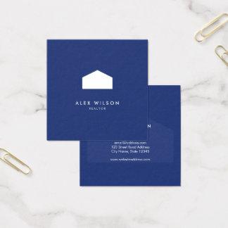 Agente inmobiliario moderno del azul y de la Casa Tarjeta De Visita Cuadrada