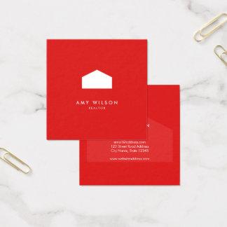 Agente inmobiliario moderno del rojo y de la Casa Tarjeta De Visita Cuadrada