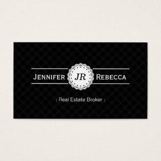 Agente inmobiliario - negro moderno del monograma tarjeta de negocios