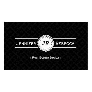 Agente inmobiliario - negro moderno del monograma tarjetas de visita