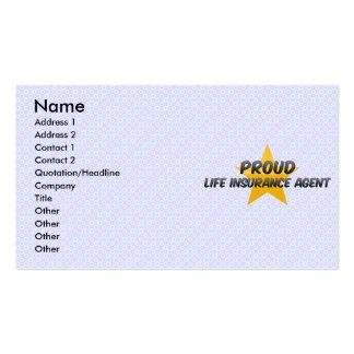Agente orgulloso del seguro de vida tarjetas de visita